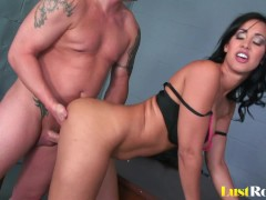 Busty bombshell Isis Love with a creampied twat