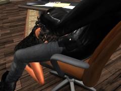 Fred Adjani qui baisse Mumu en mini robe moulante dans son bureau.avi