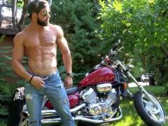 Maskurbate Hunky Biker Jerks Dick Outside