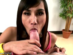 Small dicked Thai ladyboy ends up with cum on tits after POV