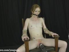 Katy Kiss Chair Tied Bondage Orgasms