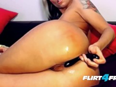Nadya Doll Unveils Her Beautiful Pierced Clit and DPs Herself