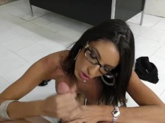 Dava Foxx talking dirty while using her hands on a cock