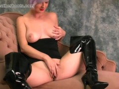 Babe with big natural tits puts on slutty black leather boots and fingers her amazing big pink juicy pussy flaps