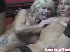 Pierced cougar trio cocksucking and riding