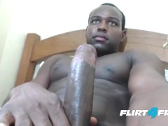 Adorable Flirt4Free Guys Model Alan Santos Jerks Off His Big Black Cock
