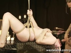 Short Blonde Haired Submissive Bound Over Cage For Blowjob