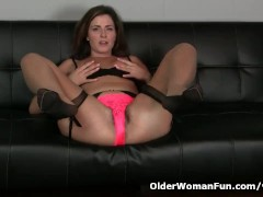 : American milf Helena goes to town on her hairy lady bits