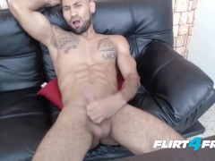 Flirt4Free Model Brandonn T - Ripped Bearded Dude Cums on His Hard Abs