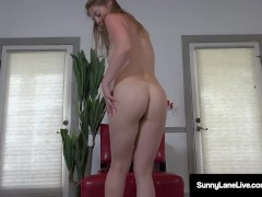 Ex Ice Skater Sunny Lane Licks Her Juicy Wet Pussy Fingers!