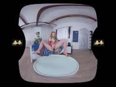 Virtual reality porn with Mag Ray toying her pussy with a black dildo