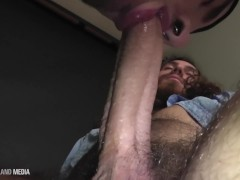 Swallowing loads from long haired muscle hunk