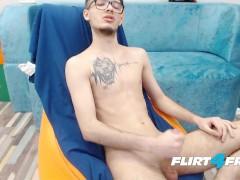 Eddie Slim - Flirt4Free Model - European Twink with Glasses Strokes His Big Uncut Rod