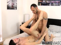 Ass fucked twink sprays cum together with his inked lover