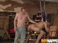 Submissive twink roughly fucked and disciplined with wax