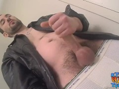 Straight stud with a manly beard jerking off until he cums