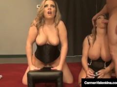 Carmen Valentina & Milf Amber Lynn Bach Take Turns On Sybian