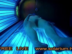 Blonde Teen in Public Tanning Salon with Reallifecam filmed.Real Hidden Webcam under tanning Bed