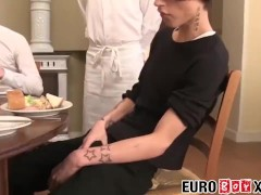 Twink waiter sucks and rides dick after the dinner service