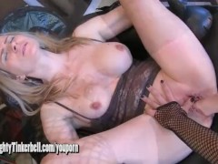 Naughty Tinkerbell is subjected to extreme masturbation and pussy fisting by lesbian dominatrix