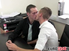 Office twinks assfuck during after hours foursome