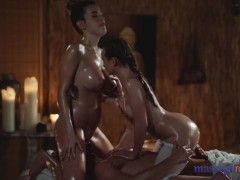 Massage Rooms Marica Chanel and Lady Bug sensual oil soaked MFF threesome
