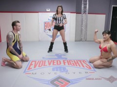 Mixed wrestling with Mia Little using a strapon after winning