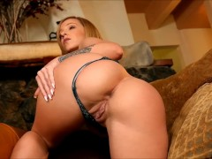 Bootyful Jada Stevens strips in front of a roaring fire, and masturbate