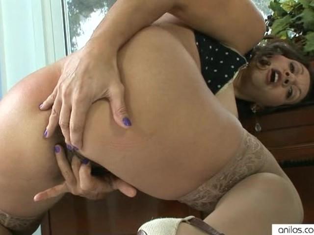 Big boobs black stockings