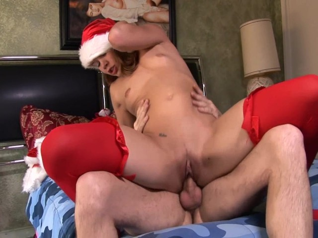 Christmas Sex In Red Lingerie With A Sexy Brunette - Free -7391