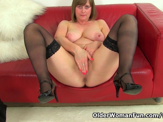 British milf april rips her tights for easy access