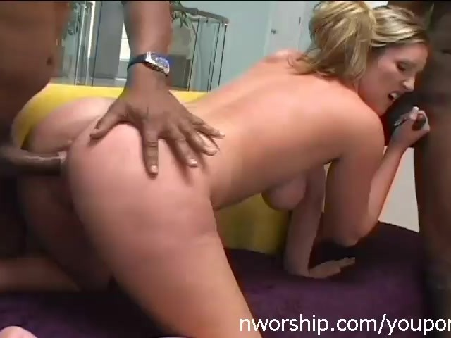Hot Blonde Interracial Porn Threesome With Two Black Cocks -3832