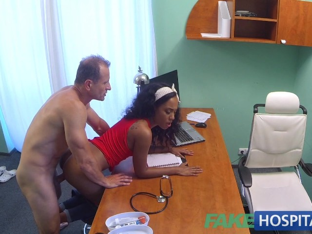 Fakehospital tight ebony pussy gets 2 cum loads from doctor 10