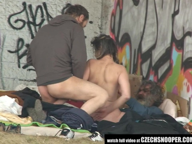 Pure Street Life Homeless Threesome Having Sex On Public -7574