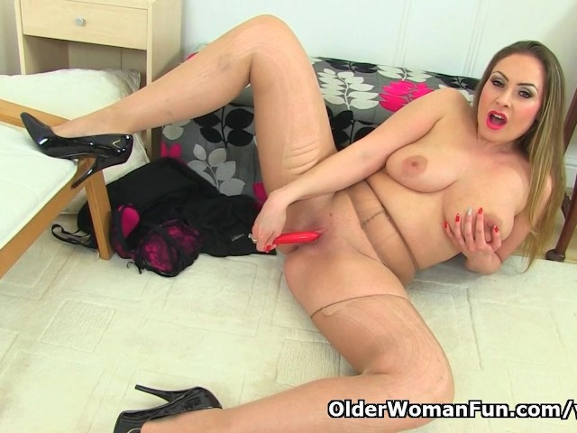 British milf april rips her tights for easy access 1