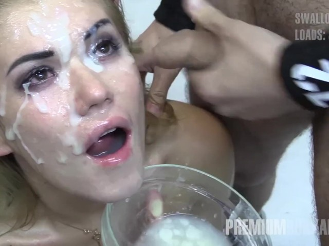 Premium Bukkake - Eva Swallows 94 Huge Mouthful Cum Loads -5520