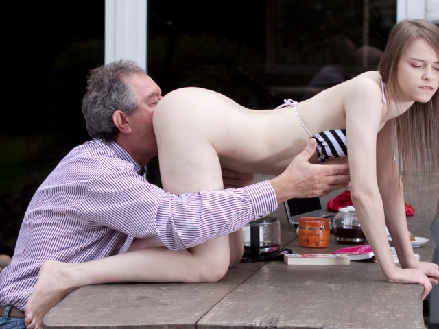 Mexican Grandpa Porn - Perfect Natural Teen Fucked by Grandpa Outside And Swallows His Cum