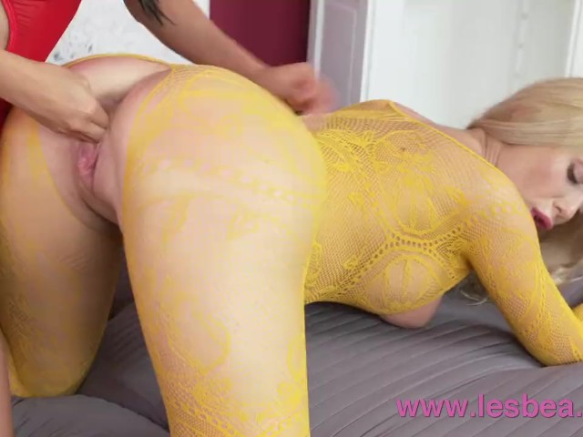 Lesbea Tight pussy Asian facesitting on big tits blonde in crotchless lace #1185447