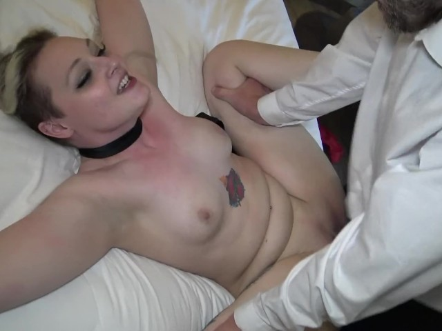 image Hardfucked british skank choked and fed with doms jizz