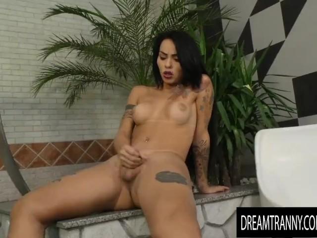 Tattooed Transsexual Nicolly Pantoja Takes a Fucking Machine Anally