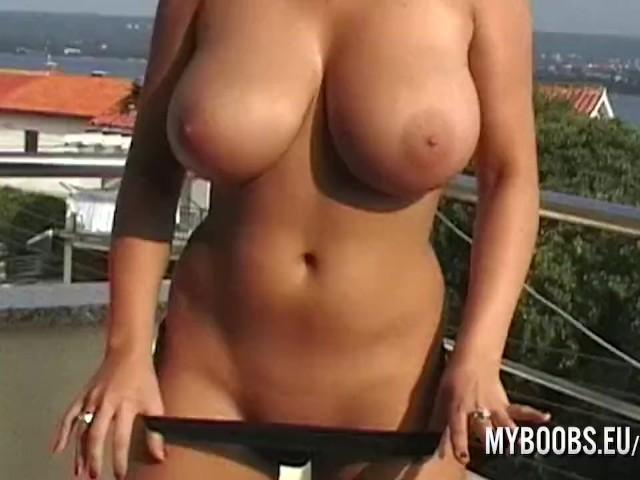 Busty Babe Kora Kryk Naked on Public in Croatia