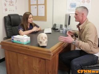 Femdom Cayenne Klien makes patient cum
