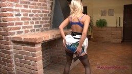 StockingVideos - Upskirt girdle tease...