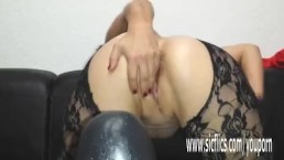 Sarah fucks gigantic dildos...
