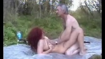Redhead wife fucking in the woods with old man