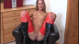 Red stockings and black boots