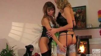 Sensual lesbian lingerie sex session