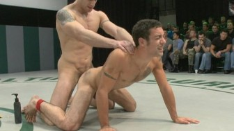 Gay sex wrestling - live audience!