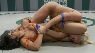 Naked girls wrestle - loser gets to cum
