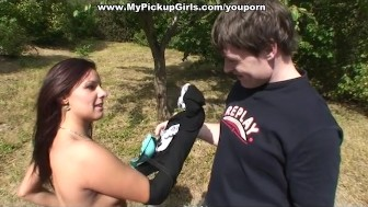 Pick up girl gets dick in her mouth and ass